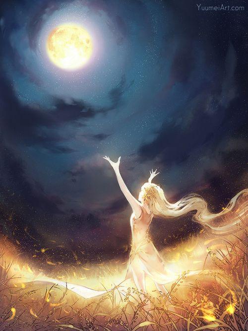 grafika moon, anime, and light