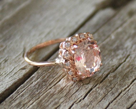 215 Cts Peach Morganite Halo Diamond Ring 14K Rose by Studio1040, $1475.00