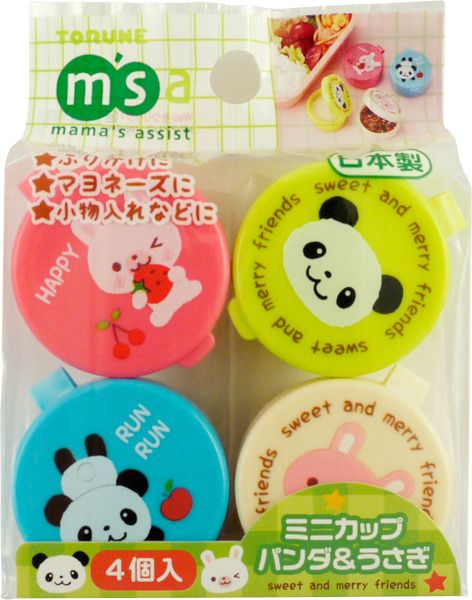 Torune Mama's Assist Panda and Rabbit Mini Sauce Containers (Mini Kappu) 25g, 4 Containers
