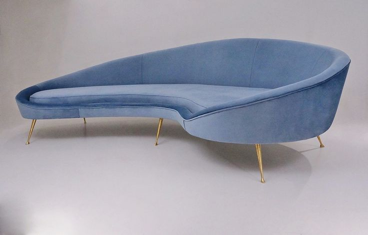 Ico Parisi sofa 1950`s style in new velvet upholstery, Italian in Vintage Sofas…