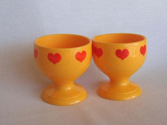Retro Scandinavian egg cups with hearts on
