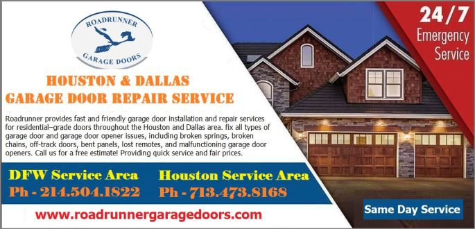 At any time of day or night, we help homeowners and businesses across the Dallas and Houston areas fix all types of garage door and garage door opener issues, including broken springs, broken chains, off-track doors, bent panels, lost remotes, and malfunctioning garage door openers. Call us - Dallas: 214.504.1822 & Houston: 713.473.8168 #garagedoorrepairs