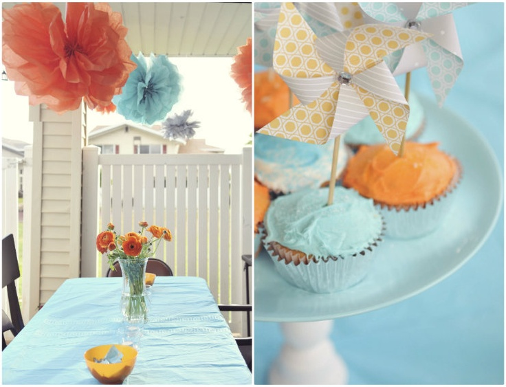 Love these colors!: Baby Blue, Party Colors, Color Palettes, Baby Boy Shower, Baby Boys, Baby Shower Decor, Hawaiian Dreams, Painting, Blue Cupcake