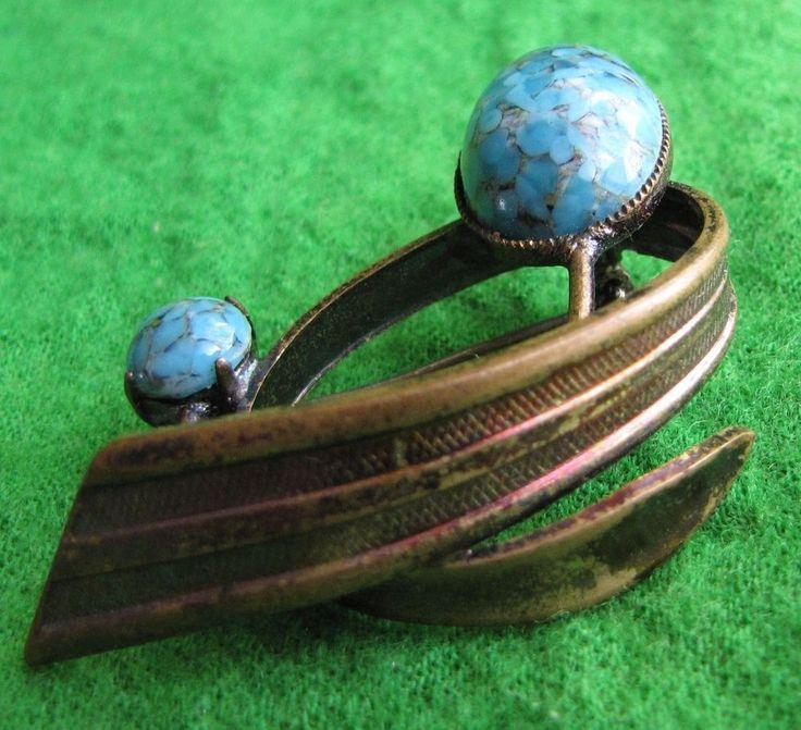Vintage USSR Old Brooch Pin Blue