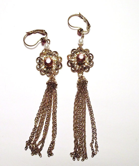 Vintage Earrings Red & Gold by MaryLuVintage on Etsy, $15.00