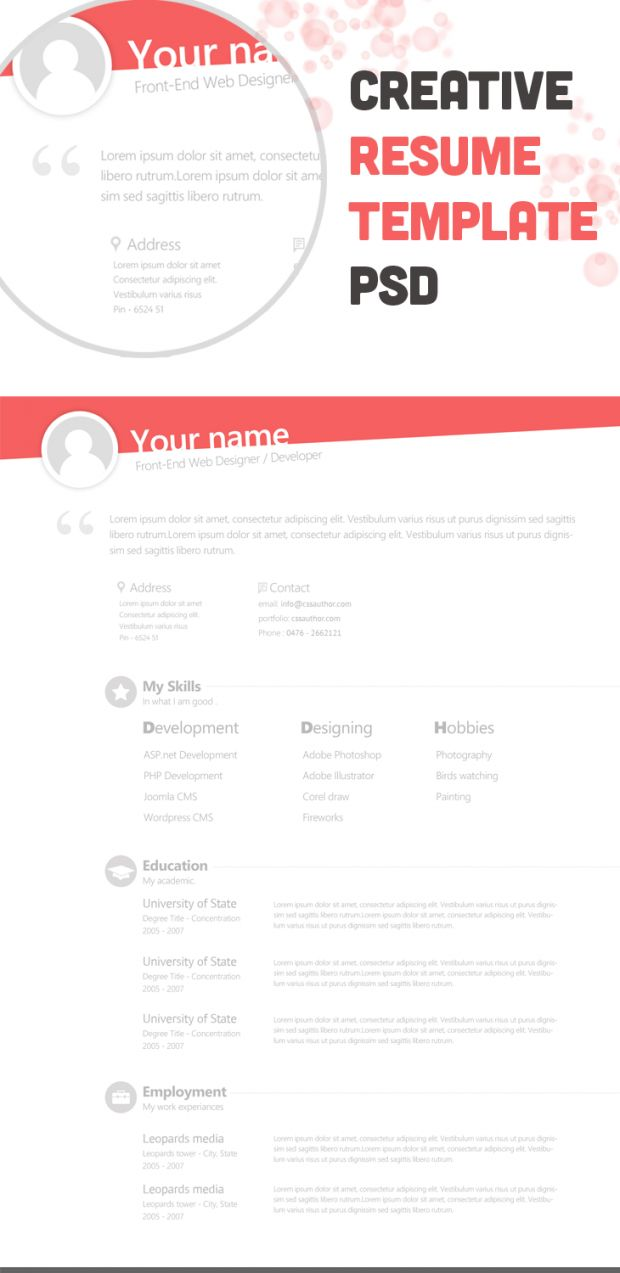 Free Creative Resume Template, Free, PSD, Resource, Resume, Template  Template Of A Resume