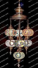 (5 Variations) Unique Chandelier with 7 Globes Turkish Mosaic Moroccan Lighting