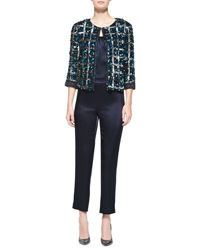 St. John Collection Hand-Beaded Vintage Plaid Jacket, Liquid Satin Tank & Side-Zip Cropped Pants