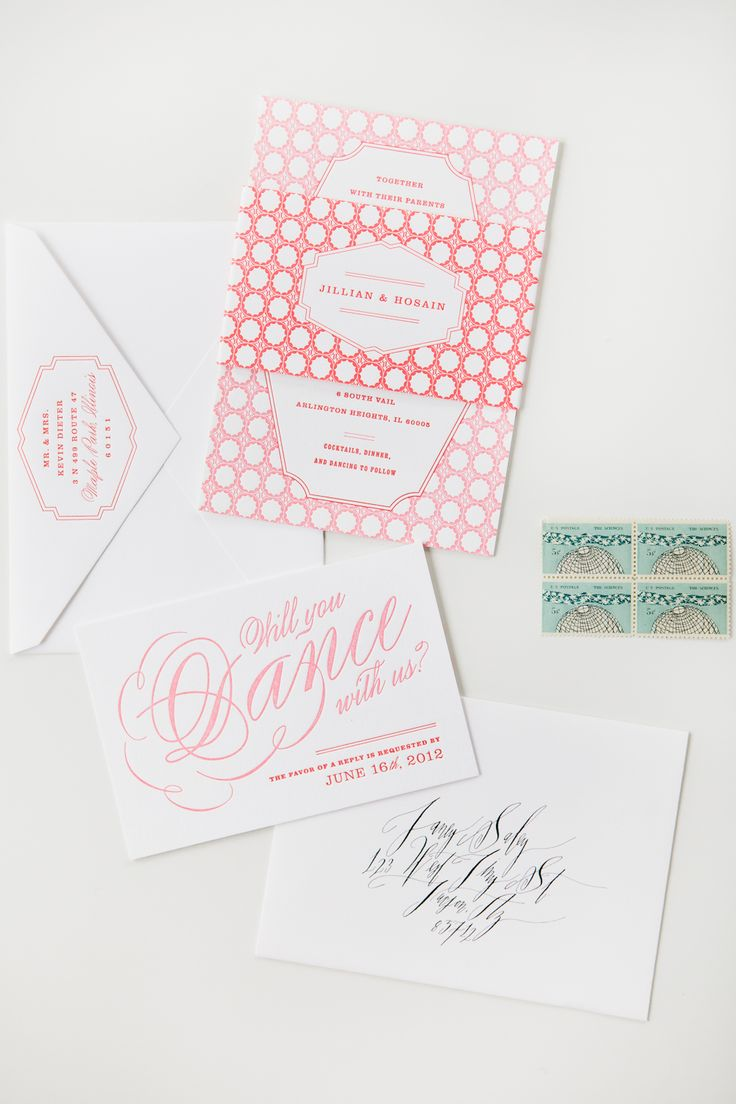 Custom pink wedding invitation suite MaeMae