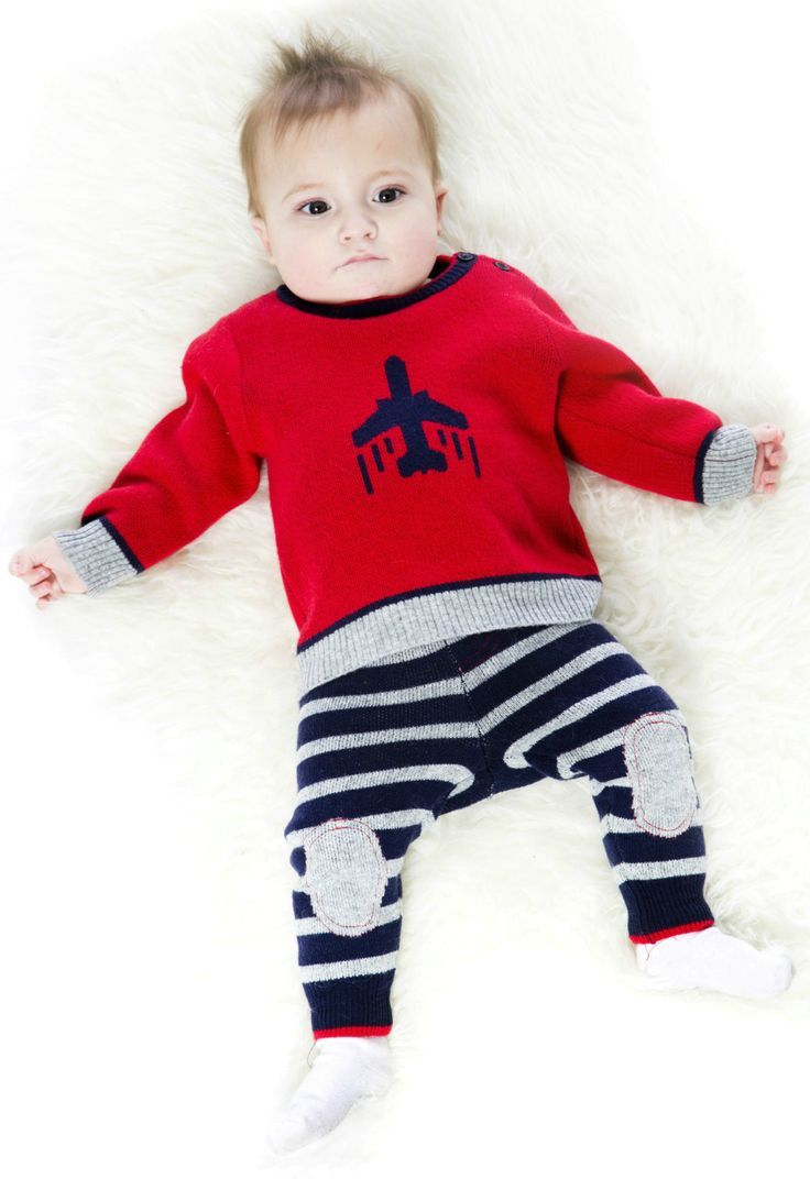 Perfect for chilly days and cold winter nights, the Two-Piece Knit Set offers cozy comfort for the baby boy who's ready to see the world. In a soft blend with touches of angora and wool, this set features a long sleeve pullover sweater with an airplane intarsia pattern on the front, contrast rib knit trim, and a comfortable crew neckline. Shop now at deuxpardeux.com #kidswear #kidsclothing #babyfashion #littleboystyle #babyclothing