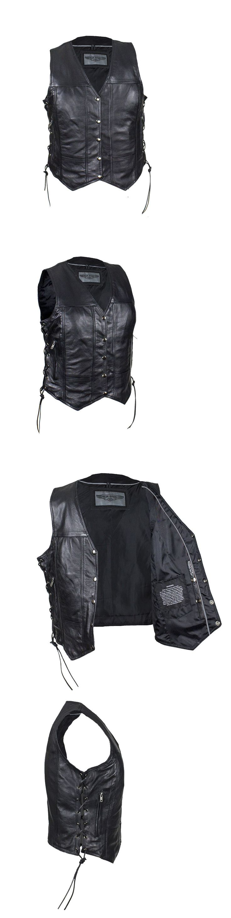 Vests 15775: Women S Leather Motorcycle Vest With Concealed Carry Pockets And Side Laces -> BUY IT NOW ONLY: $58.99 on eBay!