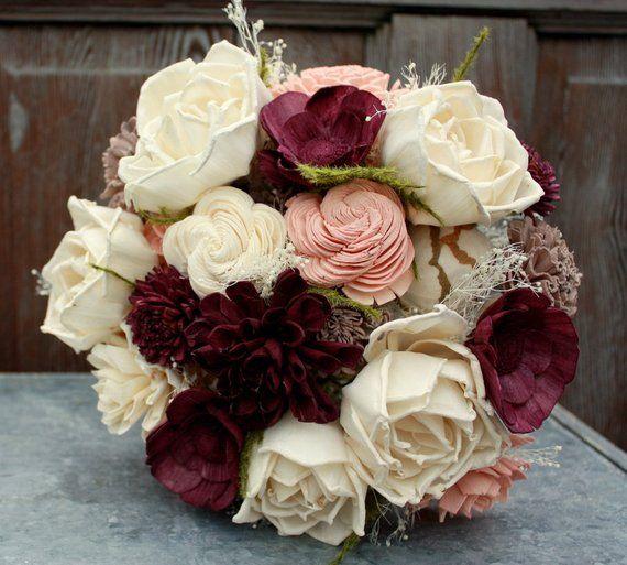 Sola flower bouquet, eggplant sola wood flower wedding bouquet, blush and deep plum, champagne eco flowers, alternative keepsake bouquet – weeding bouquets