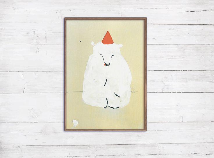 Birthday Bear Retro Print