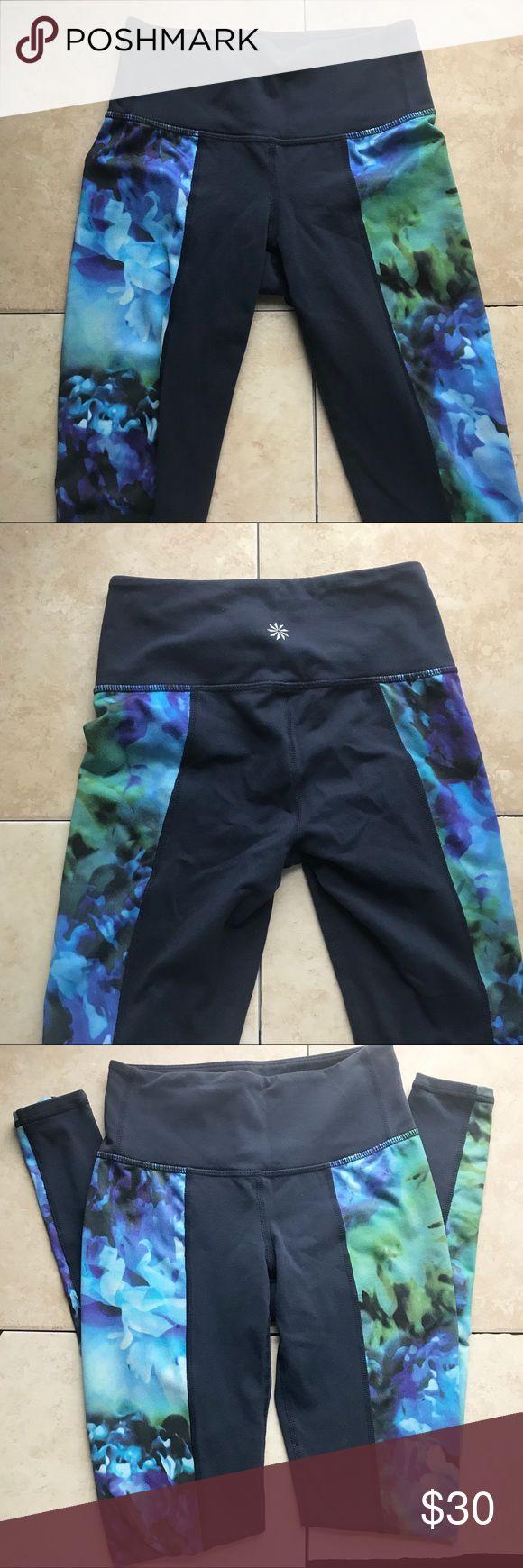 Athleta Navy Tights XXS Good condition size XXS Athleta Navy tights with side floral panels cute. Athleta Pants