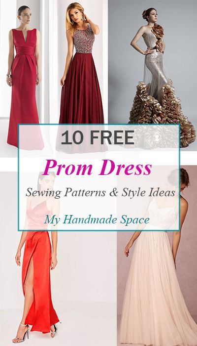 10 Free gown sewing Patterns and style Ideas. Make the dress of your dreams for your prom, a wedding,or any elegant activity.