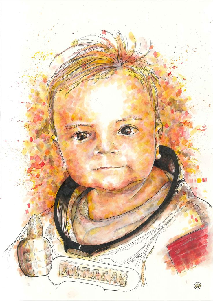 """Ladies & gentlemen, we 're floating in space #3 / A.N.D.R.E.A.S. project"", custom-made portrait (42 x 29,7, ink on paper)"