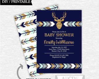 Mint Navy Glitter Gold Woodland Deer Baby Shower by abcdeparty
