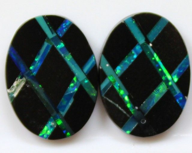 9.55 CTS MOSAIC INLAY INTO BLACK POTCH HAND MADE PAIR