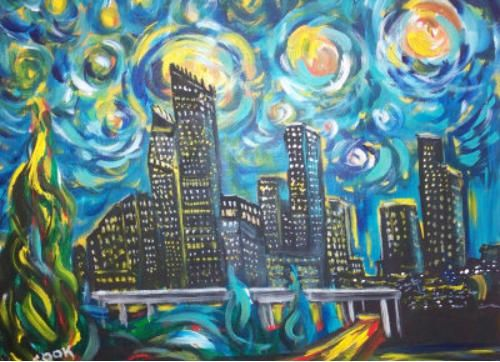 Van Gogh Skyline, is really Houston Starry night Texas style. Fun and a super painting to decorate the office .