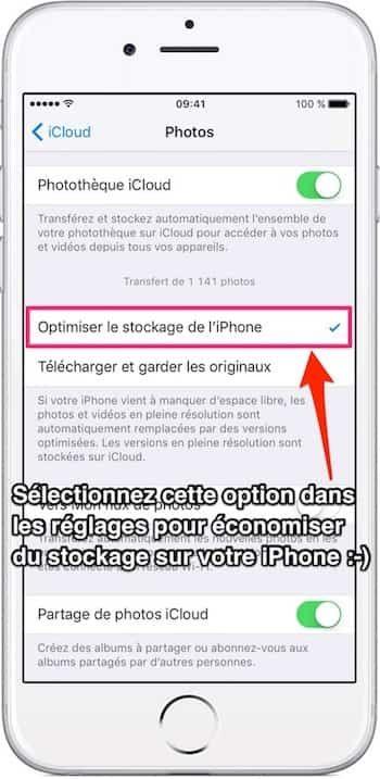 Astuce pour économiser espace stockage photos iPhone