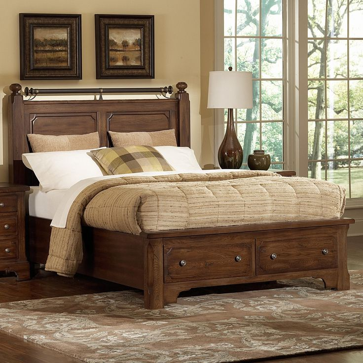 American Journey King Poster Bed W/ Metal Trim And Storage By Vaughan  Bassett