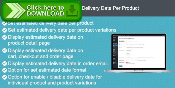 [ThemeForest]Free nulled download Woocommerce Estimated Delivery Date Per Product from http://zippyfile.download/f.php?id=57827 Tags: ecommerce, date, delivery date, estimated delivery, estimated shipping, product, shipping, woocommerce