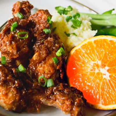 Slow Cooked Sweet & Spicy Asian Chicken with Orange Scallion Rice
