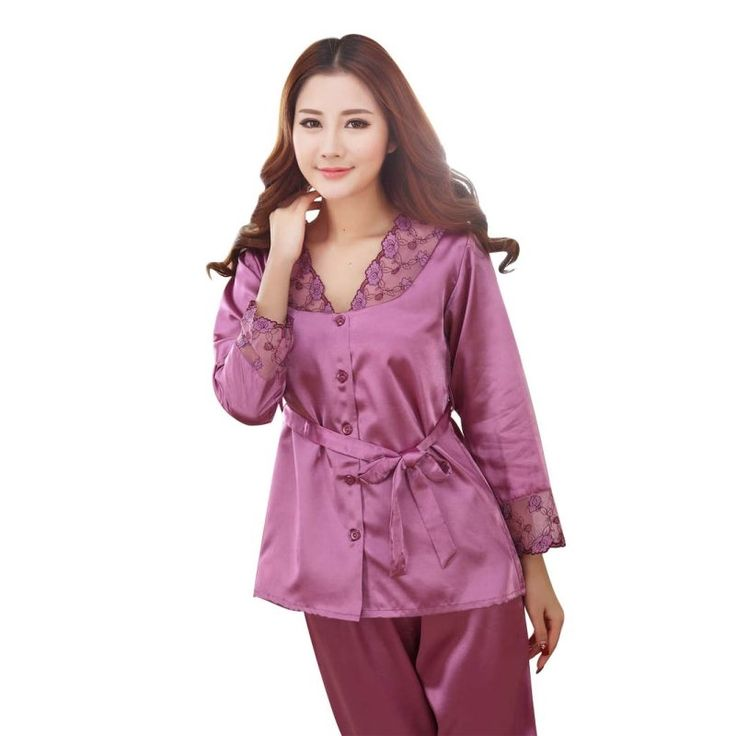 8.07$  Know more - Women Champagne Pajamas Sexy Sleepwear Silk Pajamas Set Spring Autumn Length Pants Leisure Set   #aliexpress