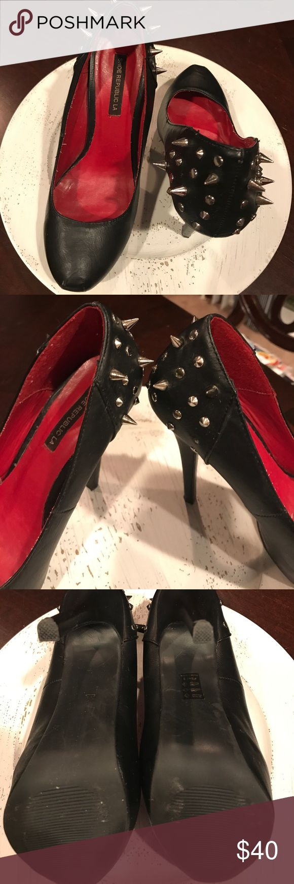 Gorgeous Black Stilettos 👠 with Metal Spikes!!! Gorgeous Black Stilettos 👠 with Metal Spikes!!!  I love these shoes but I injured my back and 5 inches are too much for me. Only wore a couple times. Bought at a Boutique in town and held onto them because they looked awesome in my closet but they belong with someone who will Rock them! There is one missing spike hardly noticeable but pictured. Shoe Republic LA Shoes Heels