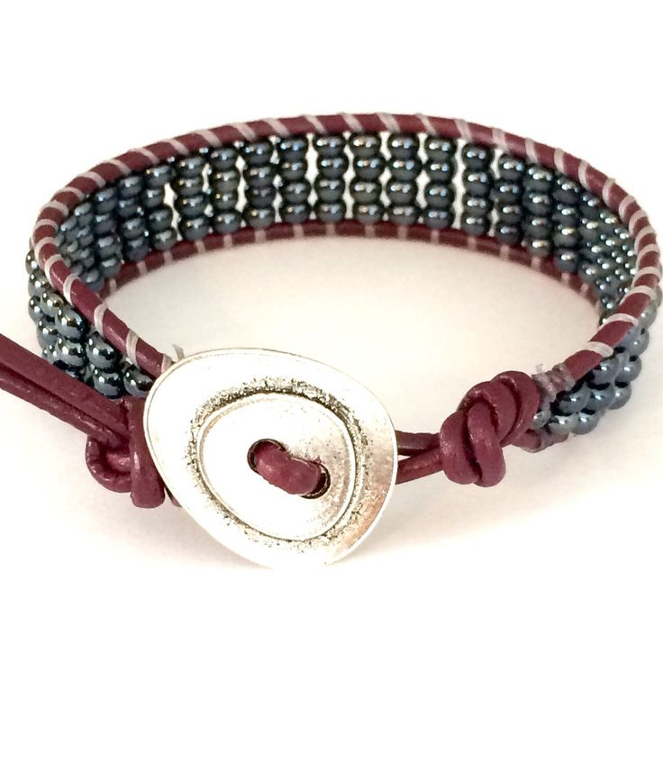 Gunmetal Hematite and Cyclamen Leather Beaded Wrap Bracelet. (21.00 USD) by BoEslaBracelets