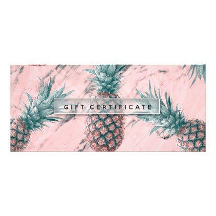 Pineapple Pink Marble Swirl Chic Gift Certificate - chic design idea diy elegant beautiful stylish modern exclusive trendy