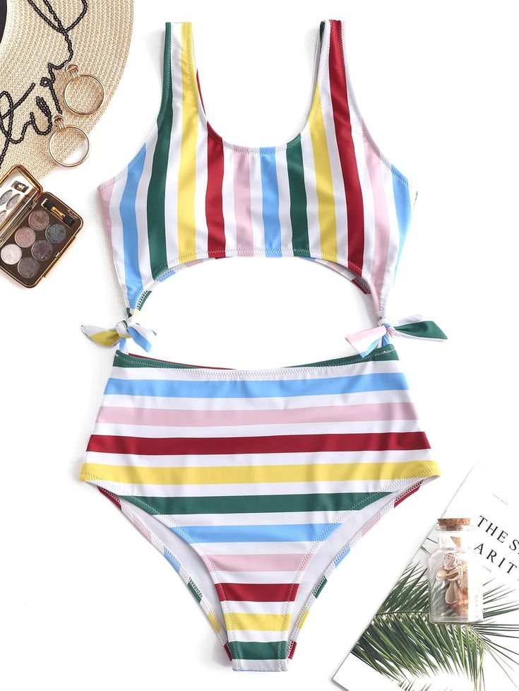 Colorful Striped Tie Side Monokini Swimsuit