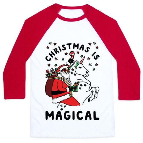 "It's the most magical time of the year! Show your love for Christmas magic and unicorns with this bad ass Santa shirt. This funny Christmas shirt features an illustration of Santa wearing sunglasses and riding a christmas unicorn along with the phrase ""Christmas is Magical."""