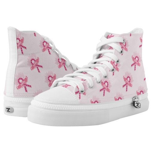 Pink Ribbon Of Hope Pink High Tops Printed Shoes