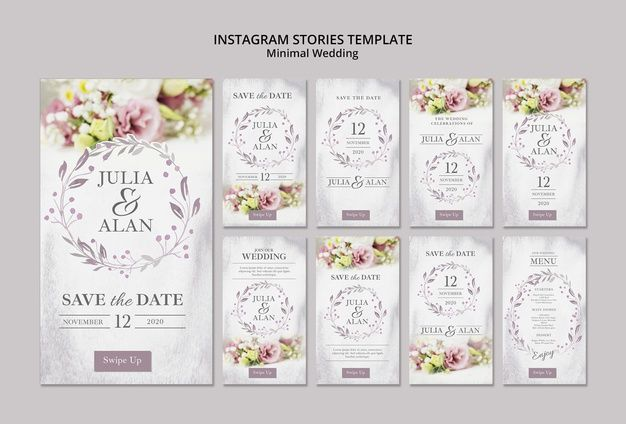 Collage Of Floral Minimal Wedding Instagram Stories Template Minimal Wedding Wedding Saving Instagram Story Template
