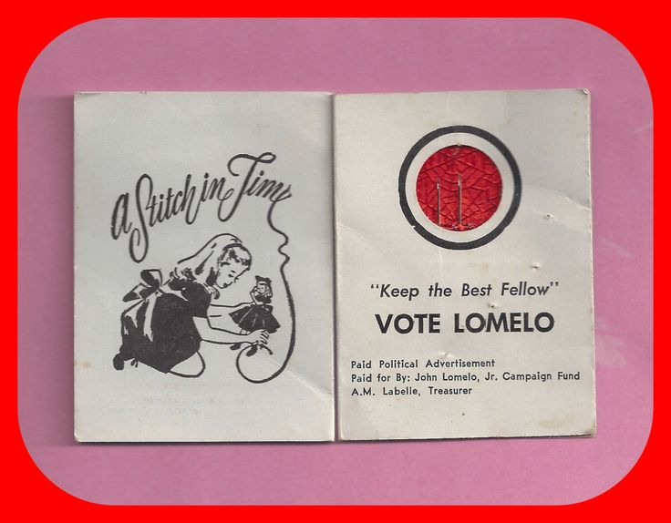 A Stitch in Time Political Advertising Needle Case Envelope Vote Lomelo by TheMaineCoonCat on Etsy