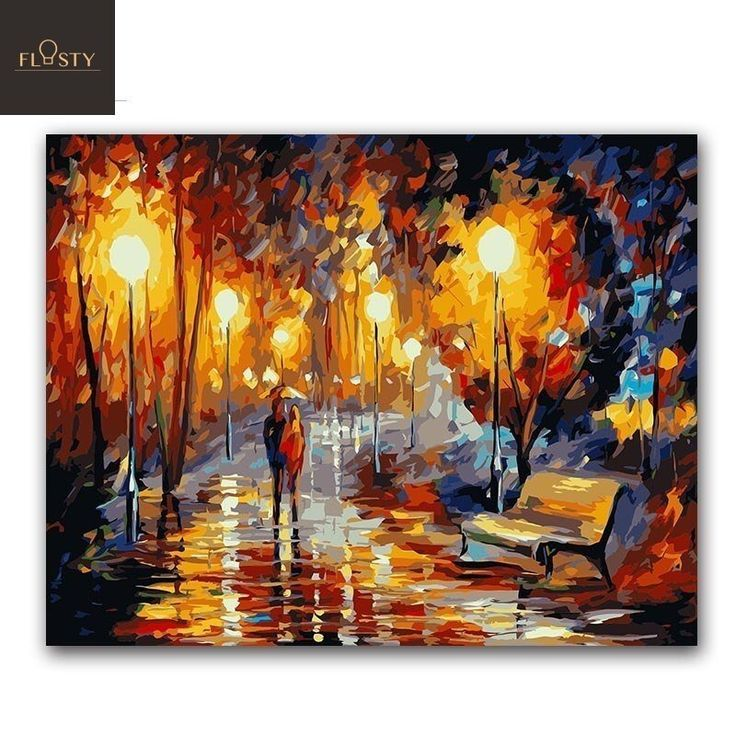 City Own Picture for Home Decor Scenery Painting by Numbers Night Picture with Frame DIY Landscape Painting by Canvas with Unique Design Best Gift