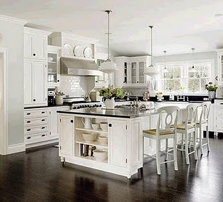 White Kitchen Cabinets And Dining Room With Dark Hardwood Floors I Like The Idea Of Hard Wood In