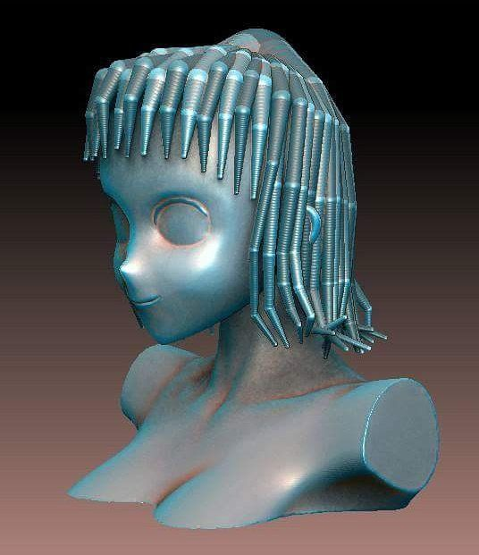 Figuring out how to sculpt anime hair has driven me crazy for the past few weeks. I tried a bunch of different techniques but yesterday before I went to sleep I saw an image where a person had used zspheres to create tentacles. Works like a charm. I just have to break up the symmetry a bit more and flesh out the details now. by travis_lee_barker_3d