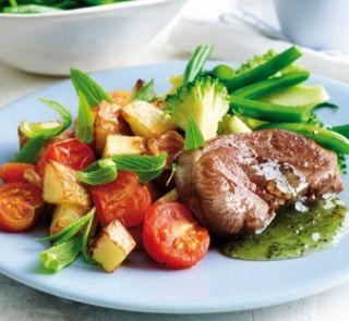 Minted lamb with roasted garlic potatoes