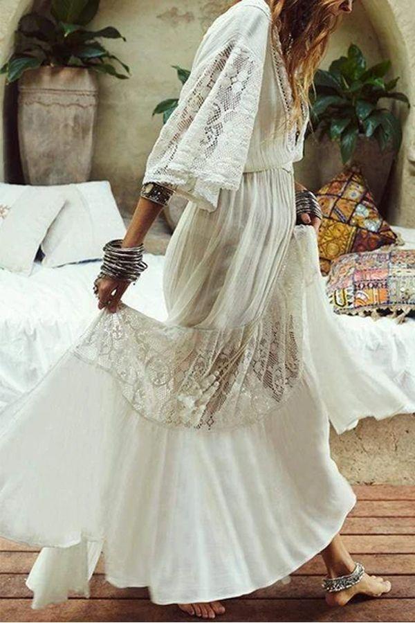 White Lace Maxi Dress Boho