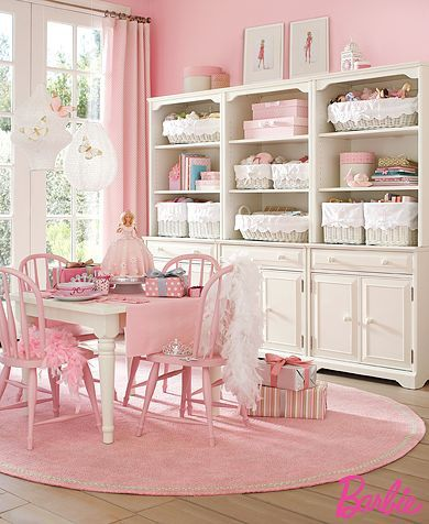 Cute table/chairs. Maybe old fashioned containers with craft stuff on shelves?