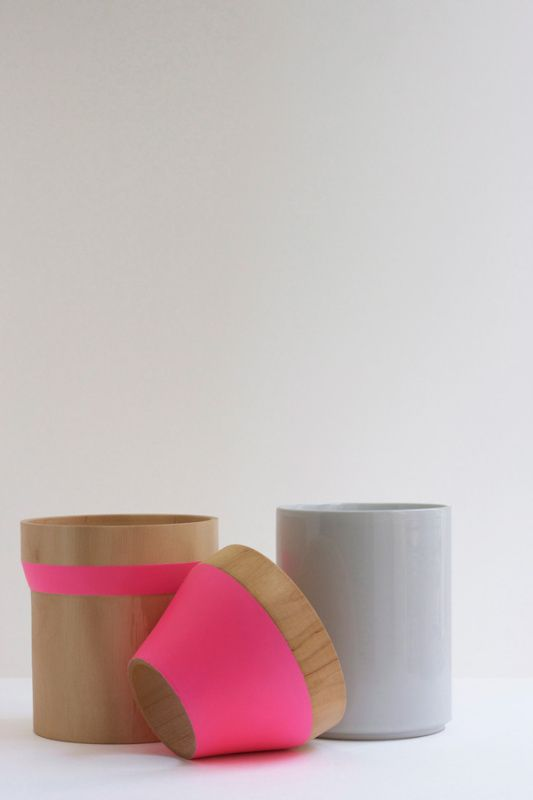 Wood and ceramic stacking vase by ¿adónde? Adjustable to fit any size of bouquet - just stack the pieces to your desired height.