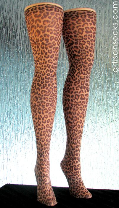 Leopard Print Thigh High Stockings