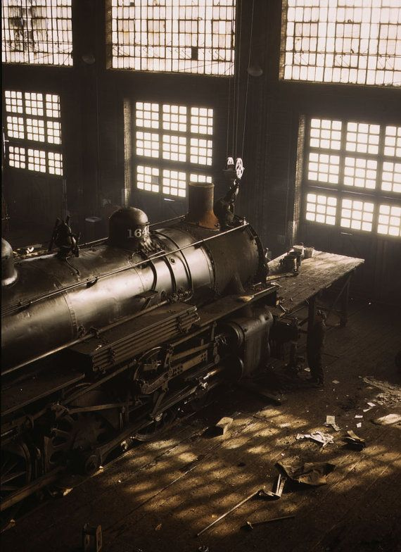New item in my etsy shopAlco locomotive under repair at C&NW 40th St repair shed Chicago 1943. Photogrph by Jack Delano by PanchromaticaDesigns. Find it here http://ift.tt/2bcgOxg
