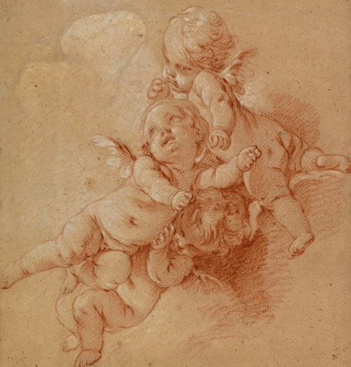 "Francois Boucher, ""Three Putti Among Clouds,"" ca. 1750, black, red, and white chalk on paper."