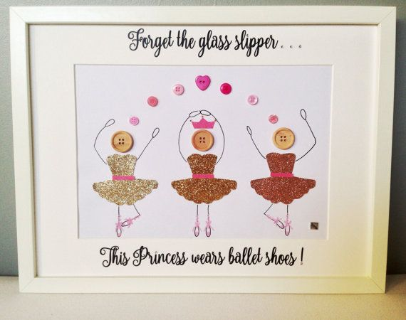 Personalised princess button frame, which is able to accommodate 3 button dancers, measuring 40 X 30 cm. Writing reads Forget the glass slipper, this princess wears ballet shoes!  however the writing can be personalised to suit you. This frame is full of glitter and sparkle. Even the writing is embellished with little sparkly gem stones. This can make a great gift or an addition to your own house. Each frame can be personalised to suit the family and style. *******Item Details…