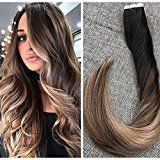 Ugeat 20inch Tape in Hair Extensions Human Hair Ombre Color Invisiable Tape Extensions 50Gram Thick End Seamless Black Color Ombre Color Brown and Blonde Tape Hair Real Remy Human Hair