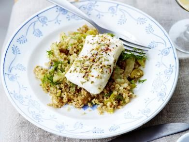 Kabeljauwhaasje op z'n Italiaans met quinoa