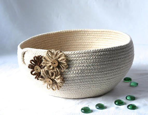 Cute Yarn Bowl Handmade Rope Basket Modern Clothesline